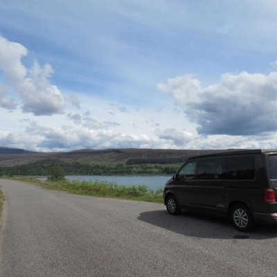 VW Campervan parked up by the Loch Scotland