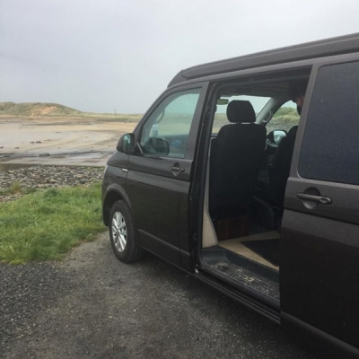 VW Campervan looking out to sea