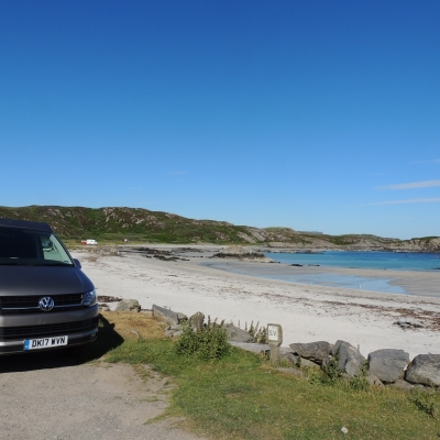 Vw Campervan at Uisken Beach on Mull