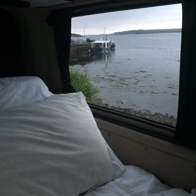 VW Campervan, views from bed.