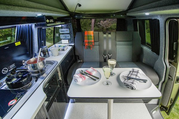 Campervan Dining Area and Kitchen