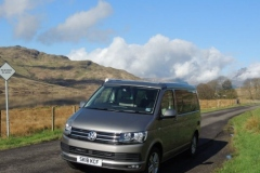 VW Campervan Hire Scotland  driving beside Loch Arklet Trossachs