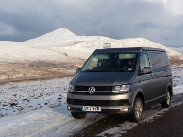 NC 500 in a campervan in winter , snow, rain or shine on North Coast 500