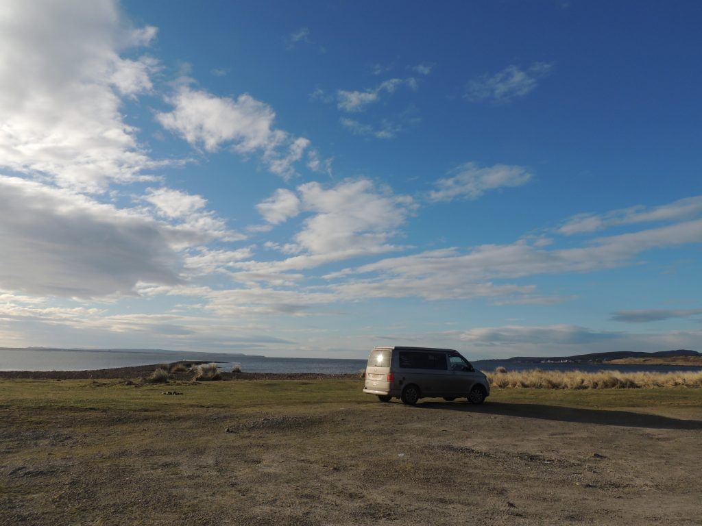 Wild camping in campervan at Lochindaal , Islay, Scotland