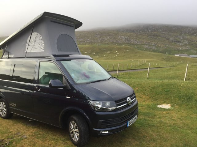Campervan on road trip Outer Hebrides