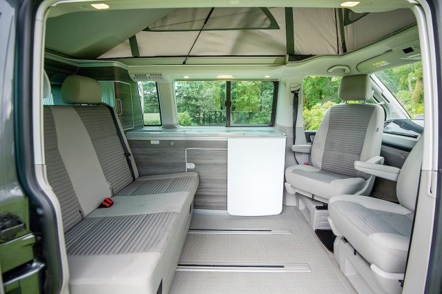VW Campervan Hire Scotland with living area of VW California campervan