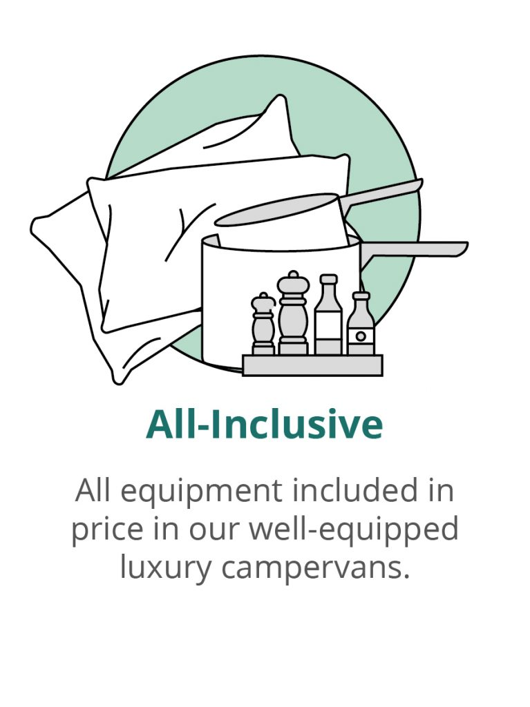 campervan equipment for all-inclusive hire with bedding and kitchen equipment