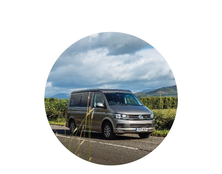 VW Campervan on road for VW campervan hire Scotland campervan